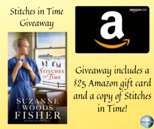Give away for Suzanne Woods Fisher, author of Stitches in Time on tour with Celebrate Lit and featured on CarpeDiem.fyi