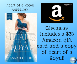 Giveaway for Hannah Currie, author of Heart of a Royal on tour with Celebrate Lit and featured on CarpeDiem.fyi