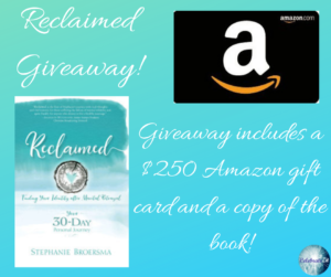 Give away for Stephanie Broersma, author of Reclaimed on tour with Celebrate Lit and featured on CarpeDiem.fyi