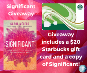 GiveAway for Carol McLeod, author of Significant on tour with Celebrate Lit and featured on CarpeDiem.fyi