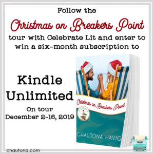 Give away for Chaurona Havig, author of Christmas on Breaker's Point on tour with Celebrate Lit and featured on CarpeDiem.fyi