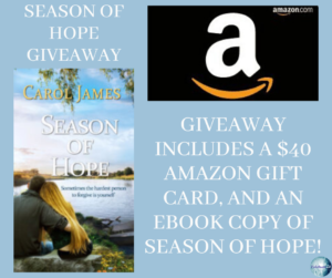 Give away for Carol James, author of Season of Hope on tour with Celebrate Lit and featured on CarpeDiem.fyi
