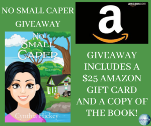GIveaway for Cynthia Hickey, author of No Small Caper on tour with Celebrate Lit and featured on CarpeDiem.fyi