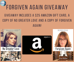 Give away for Gina Holder, author of Forgiven Again on tour with Celebrate Lit and featured on CarpeDiem.fyi