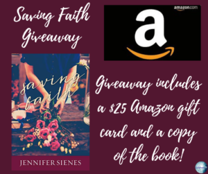 GIve away for Jennifer Seines, author of Saving Faith on tour with Celebrate Lit and featured on CarpeDiem.fyi