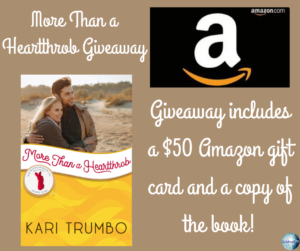 Give away for Kari Trumbo, author of More Than a Heartthrob on tour with Celebrate Lit and featured on CarpeDiem.fyi
